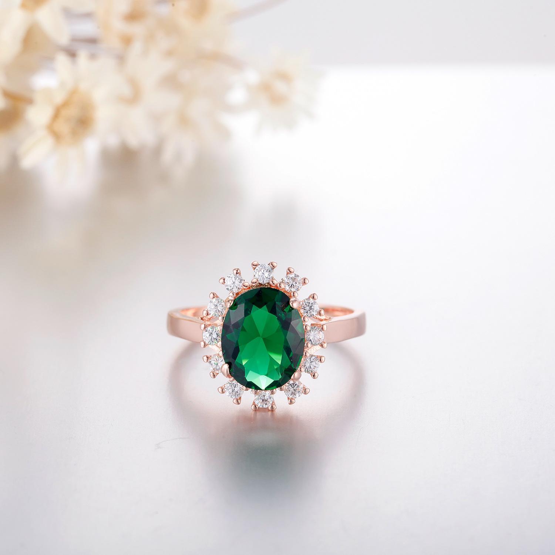 Moda joyería-amante de la joyería femenina anillo S925 se levantó y color verde cuadrada de cristal exquisiteMicro exquisitos amantes Accesorios Mano