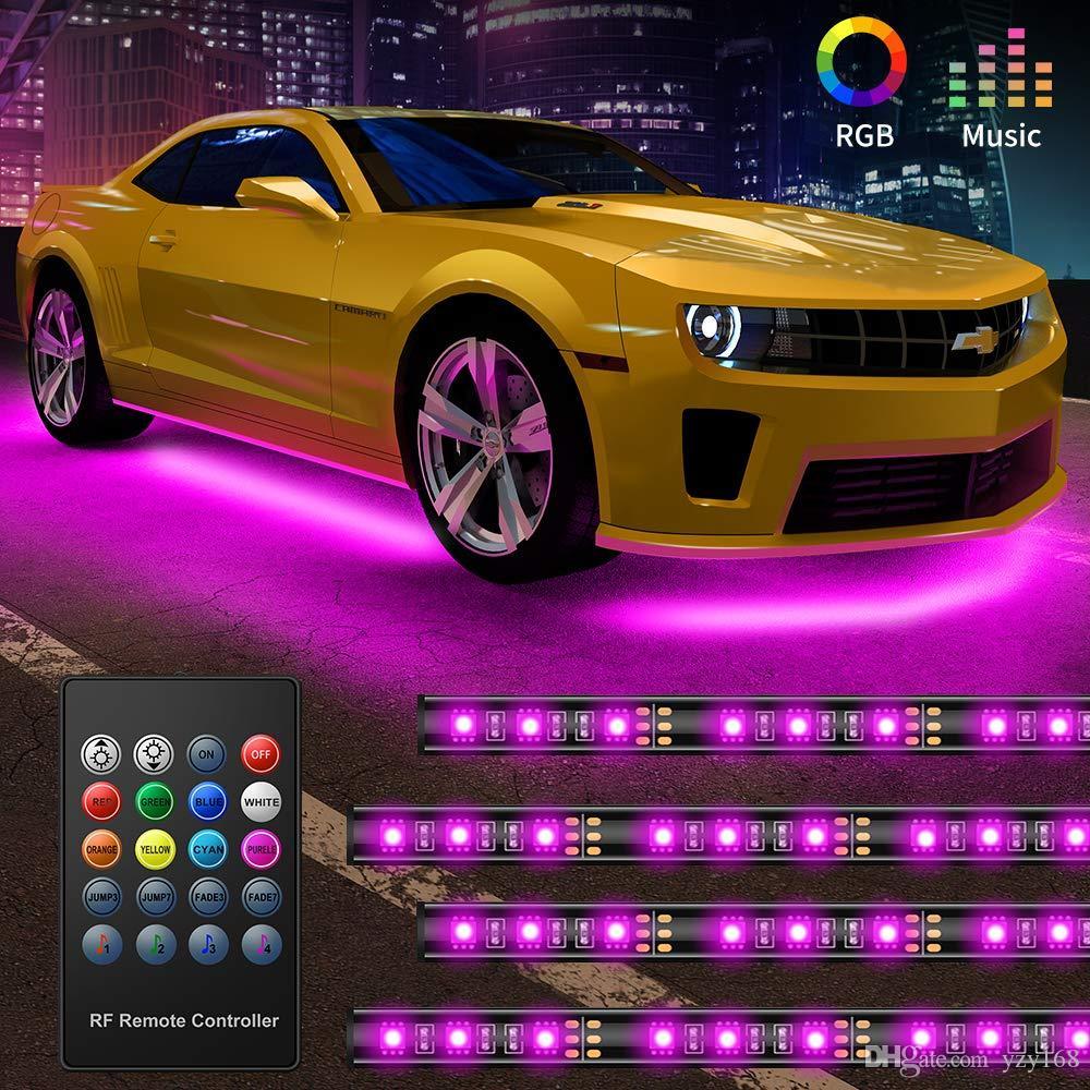 أضواء Underglow السيارات، 4 قطع بقيادة قطاع أضواء السيارات، 8 لون أضواء النيون لهجة قطاع، مزامنة إلى الموسيقى، لاسلكي للتحكم عن بعد 5050 RGB LED