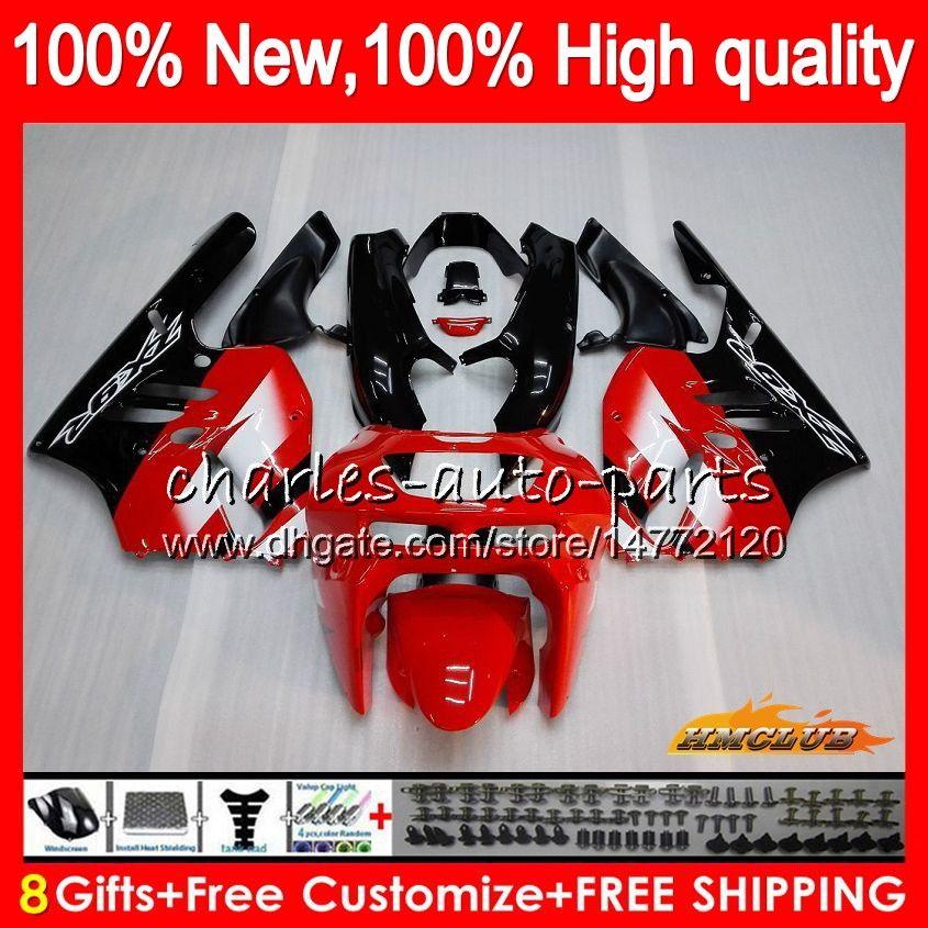 Cuerpo para Kawasaki ZX900 900 CC ZX9R 94 95 96 97 rojo negro nuevo kit 47HC.8 ZX 900 R 9 94 97 ZX 9R 900cc ZX9R 1994 1995 1996 1997 completo carenado