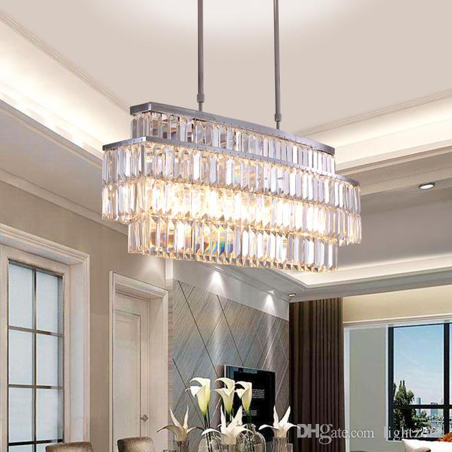 الحديثة الثريات الكريستال الثريا المستطيل الإضاءة الفاخرة أدى تركيبات الإضاءة قلادة لتناول الطعام مطعم غرفة