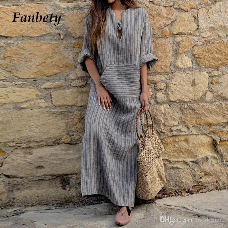 bolsillo de las mujeres de la vendimia Fanbety algodón de lino vestido V atractivo del verano del cuello del Kaftan de manga larga a rayas de vestir vestido maxi largo de Boho elegante