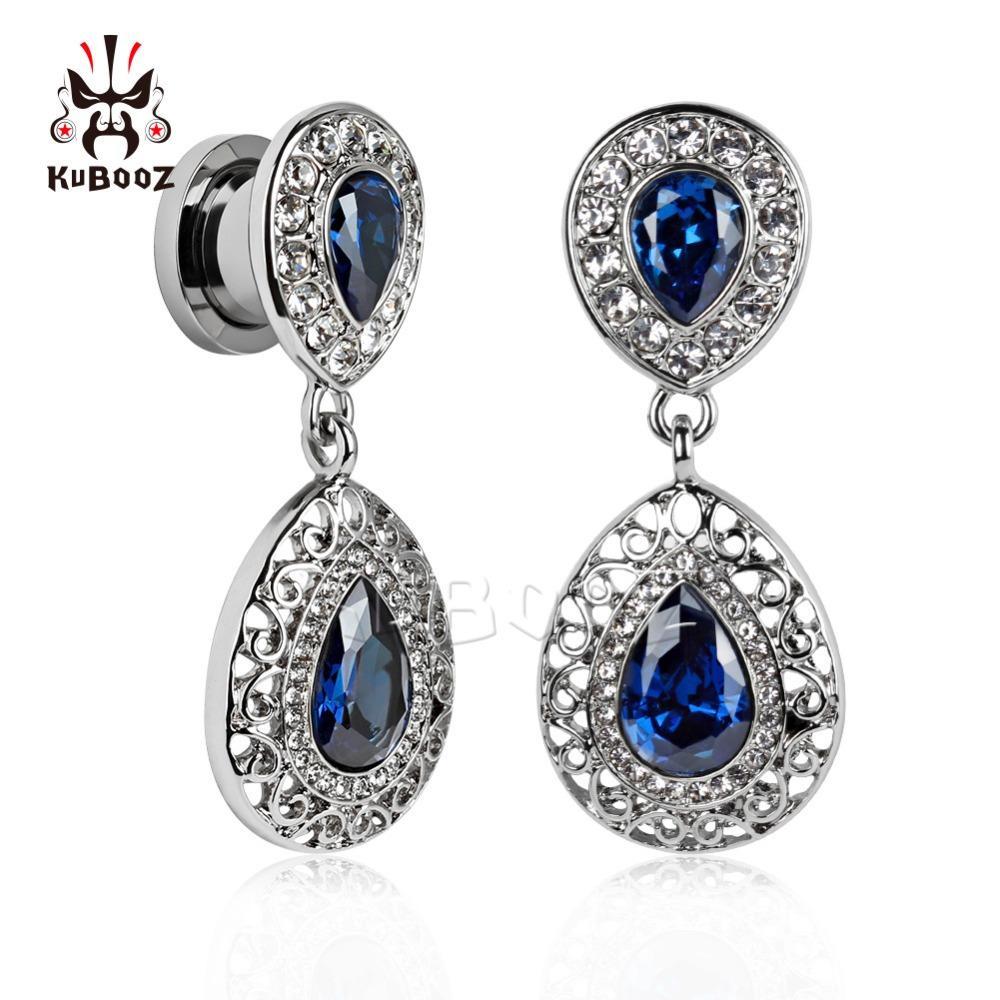 2018 kubooz ثقب المجوهرات المقاوم للصدأ الأزرق جوهرة استرخى الأذن مقاييس التوصيل و نفق هيئة المجوهرات مزيج حجم الكثير