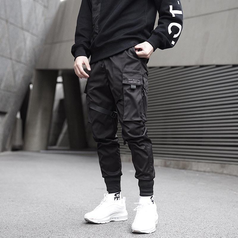Septhydrogen Marka Moda Erkekler Kurdeleler Renk Bloğu Siyah Cep Kargo Pantolon Harem Koşucular Harajuku Sweatpant Hip Hop Pantolon