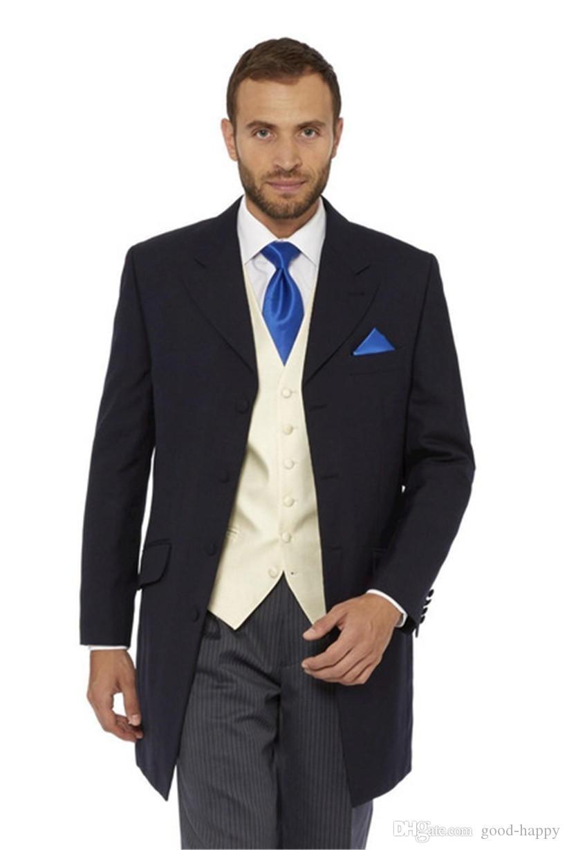 Siyah Uzun Damat Smokin Dört Düğme Sağdıç Düğün 3 Parça Suit Moda Erkekler İş Balo Ceket Blazer (Ceket + Pantolon + Kravat + Yelek) 2662