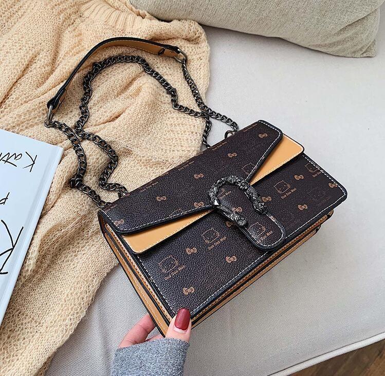 wholesale brand women handbag elegant temperament printing chain bag flip retro lock women shoulder bag contrast leather messenger bag