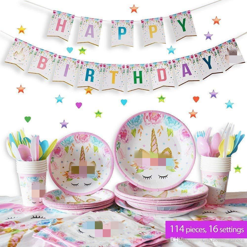 Unicorn Party Supplies Enfants Décoration Papier Plaques Tasses Serviettes Table Cover