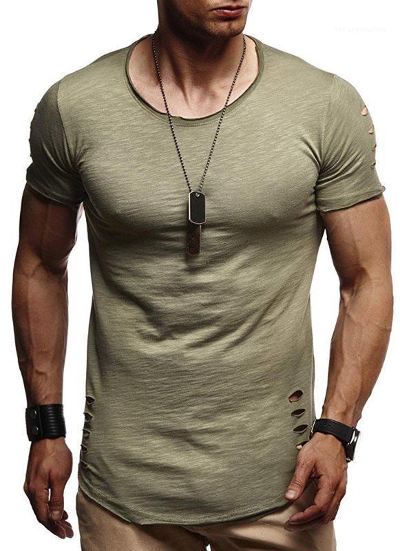 Gerade Homme Kleidung Sommermens Loch Fest-T-Shirts mit Rundhalsausschnitt kurzer Hülsen-Männer-T-Shirts reine Farbe beiläufige Pullover