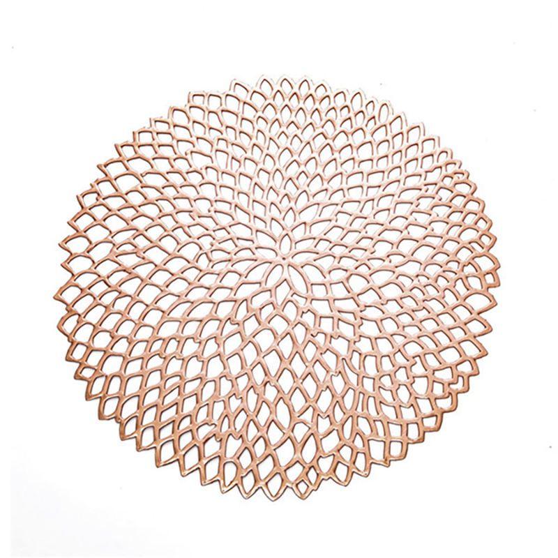 Placemat para um jantar Tabela plástico PVC oco de isolamento redondas barrocos Pads Mediterrâneo Tabela bacia Mats Home Decor Rose