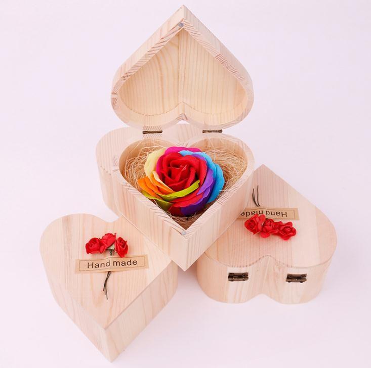 День Святого Валентина мыло ручной работы цветок в форме сердца деревянный ящик букет ручной день Роза Мыло свадьбы Валентина подарок SN2941