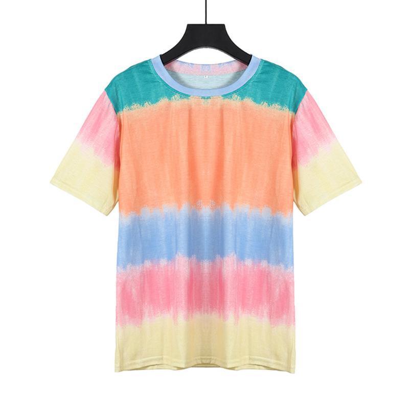 Steigung-Farben-Mode-T-Shirt Frauen kurzärmelige beiläufigen Sommer-Strand-Streifen gedruckt Sport-T-Shirt plus Größen-Gymnastik-Eignung T Top