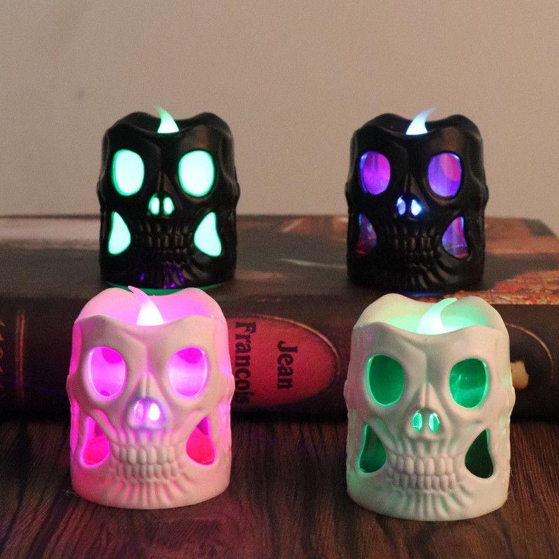 Cráneo luminoso LED Vela de Halloween Creativo LED Vela Haunted House Bar Party Skull Decoración Negro Blanco Plástico Cráneo Velas