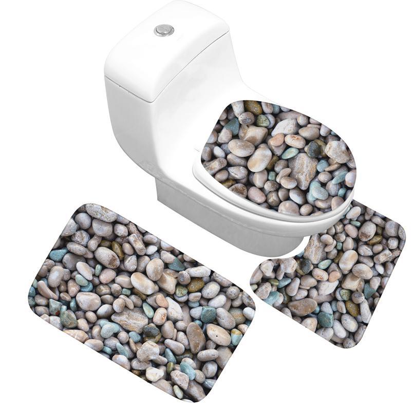 cobblestone 3pcs/set Flannel Print Non Slip Toilet Bathroom Pad Floor Mat Rug Carpet Absorbent Pedestal Rug Lid Toilet Cover Bat