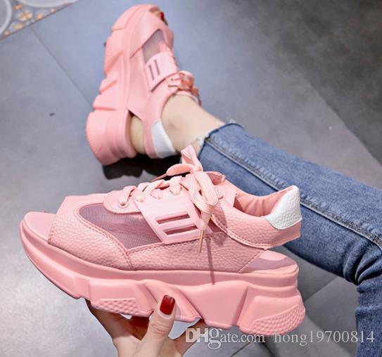 Yaz Kadın Rahat Ayakkabılar Takozlar Burnu açık Platformu Sandalet peep toe kadın kalın Topuklu Sandalias boyutu 35-40