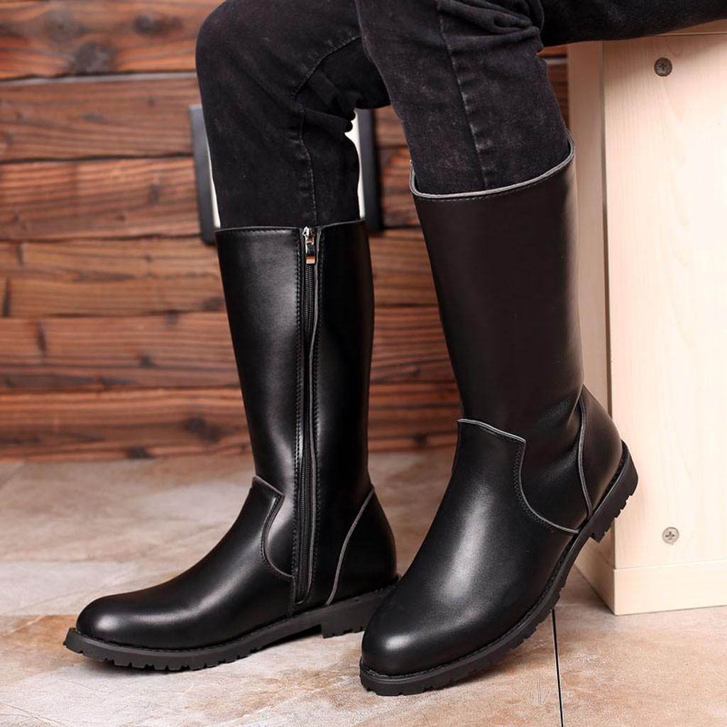 Knee High Boot Men Round Toe Leather
