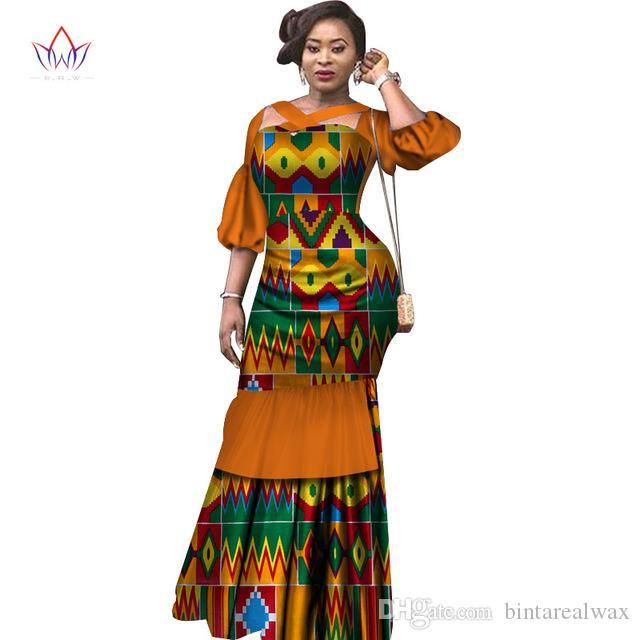 Verão Vestido Africano Tecido Dashiki Imprimir Vestidos Sleeve Puff Meio Mermaid Vestido Maxi vestido de mulher roupas tamanho 6XL WY2465