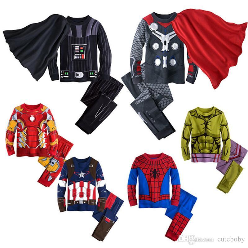 Karikatür Bebek Boys Giyim Polyester Pamuk Suit Boys Giyim İlkbahar Ve Sonbahar Giysiler Avrupa Ve Amerika Örümcek Adam Kostüm çocuklar ayarlar