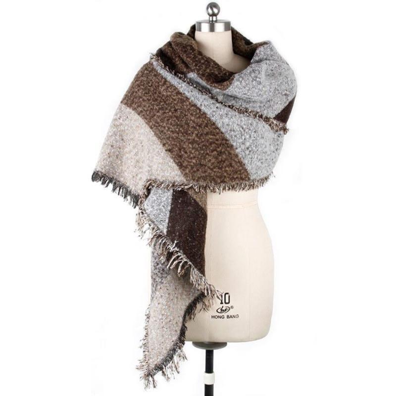 إمرأة جديد الشتاء سميكة من الصوف الدافئة طرحة الكشمير شال يلف مع شرابة الخريف سيدة الشتاء جودة عالية وشاح طويل
