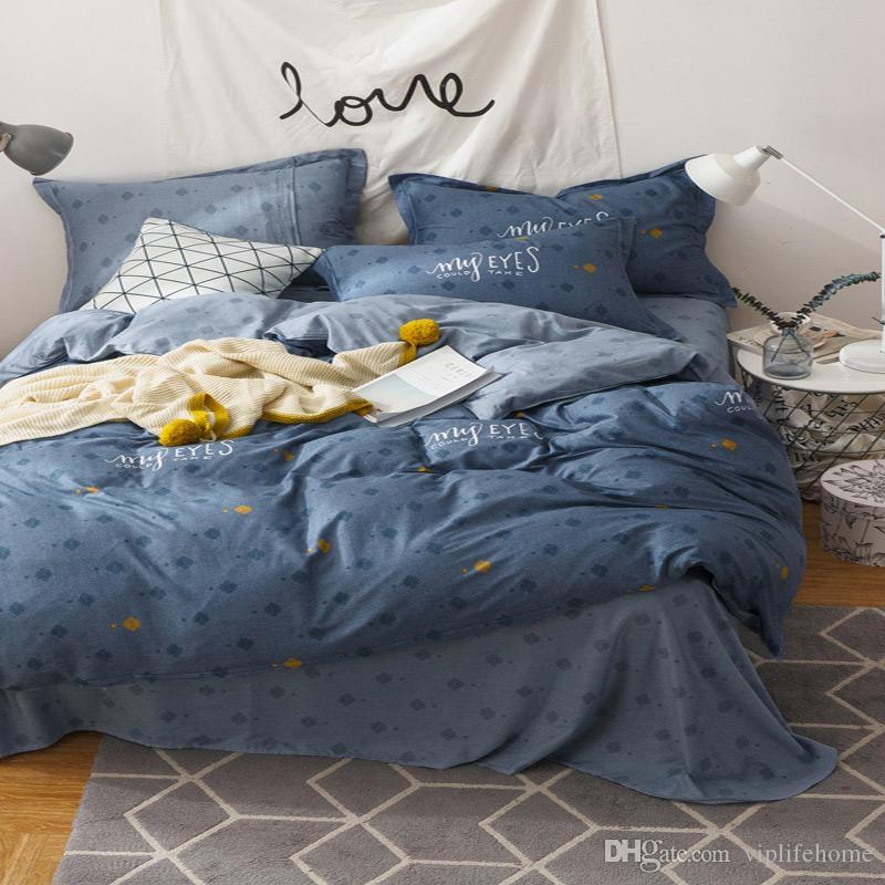 VIPLIEF Home Textiles Ensemble de nouvelle literie en coton de style nordique de quatre tissus Doux et confortable Respirant Garantie de haute qualité