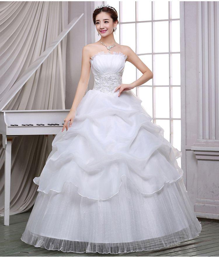 웨딩 드레스 화이트 신부 패션 붕대 튜브 탑 새로운 스튜디오 간단한