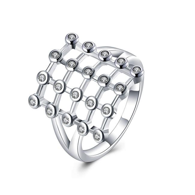 Hot sale epacket DHL Plated sterling silver Square diamond ring DJSR837 US size 8 ; women's 925 silver plate Cluster Rings jewelry