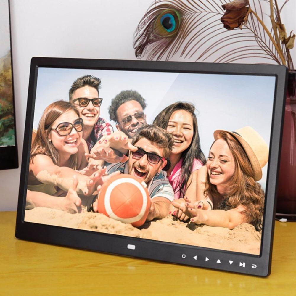 Freeshipping Digital Photo Frame Electronic Album 15 Inches 1280*800 Front Touch Buttons Multi-language LED Screen Pictures Music Video