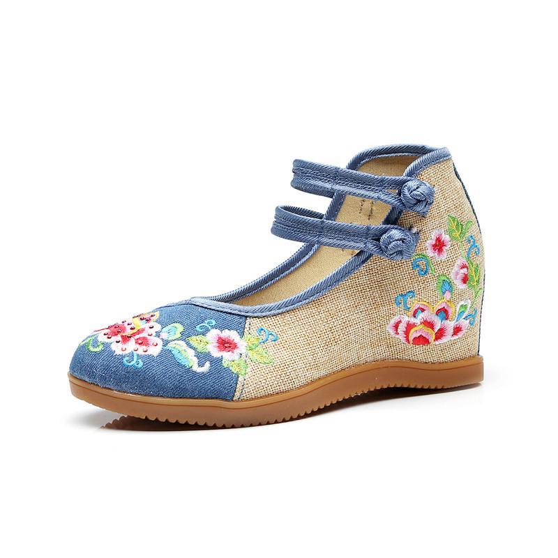 Zapatos de lona Zapatillas de cuña para mujer Bordado de estilo tradicional chino Zapatos casuales para mujer Zapatos vulcanizados de baile cómodos
