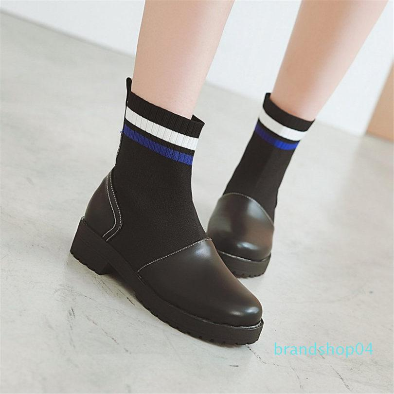 Hot deslizamento Venda-Women On tricô Low Heel Botas Rodada Toe quentes Partido Oxfords inverno botas de montaria Chic Oxfords Shoes