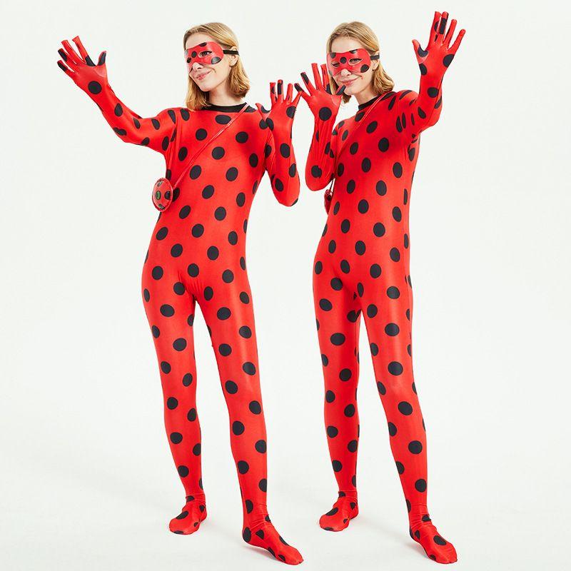 Ladybug Big Girl Kleidung bereit Karikatur-Kostüm verkleiden Halloween Cosplay Kinder Perücke Bühnenrolle Taschen Augen Noel Maske der schwarzen Katze