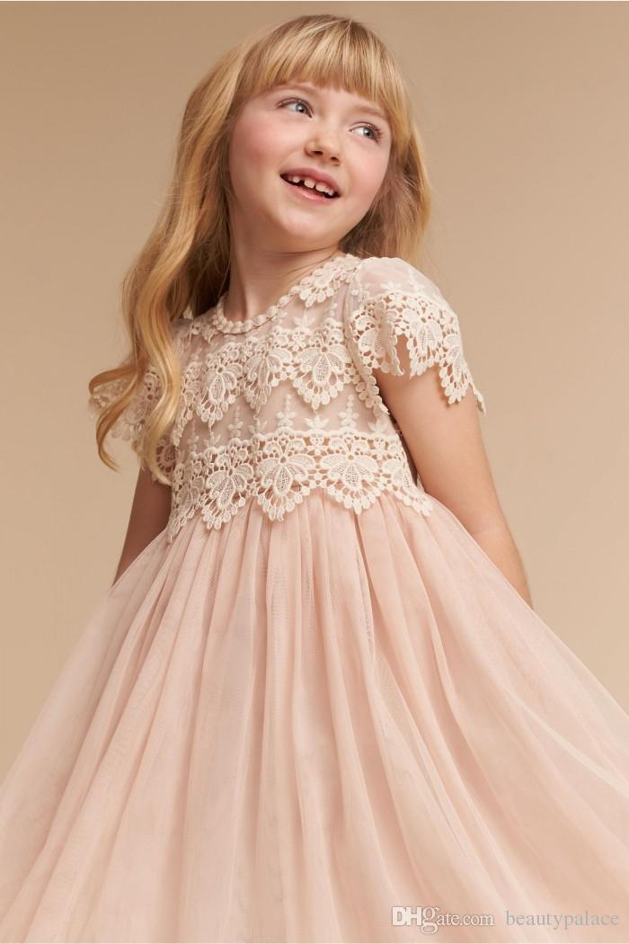 Free Shipping A Line Jewel Flower Girls Dresses For Wedding Tea Length Light Champagne Tulle Lace top Short Sleeve Flower Girls Pageant Gown