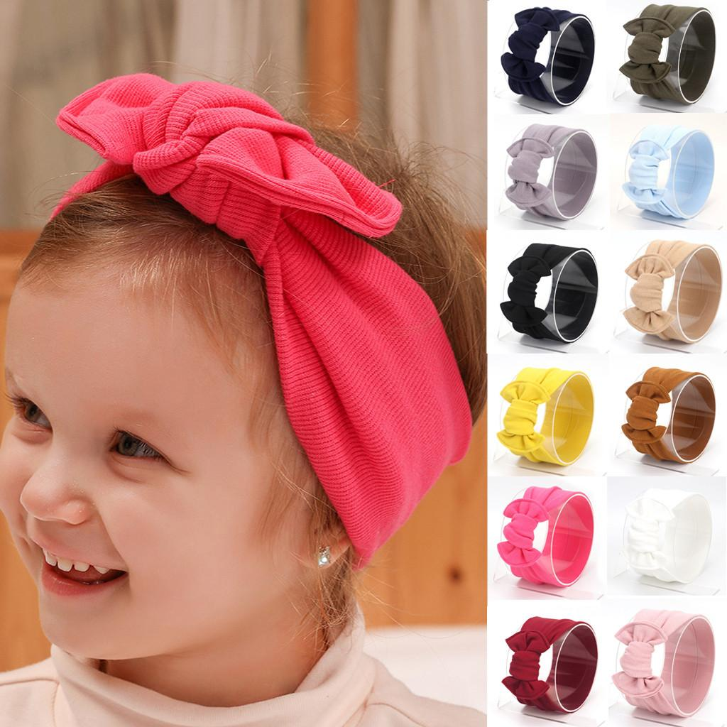 Sevimli Bebek Çocuk Katı Konu Tie Big Bow Elastik Kız Kafa Sevimli Şık Rahat Kız Bebek Headbands