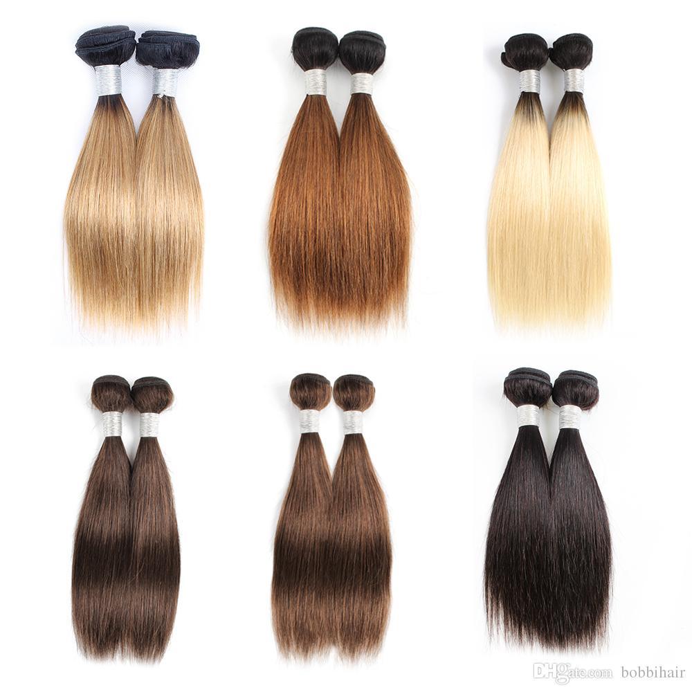 Cheap Colore dei capelli umani del tessuto Bundles Ombre bionda Castano Corti Bob 10-12 Inch 2/4 Bundles / set malese Capelli lisci Remy Hair Extensions