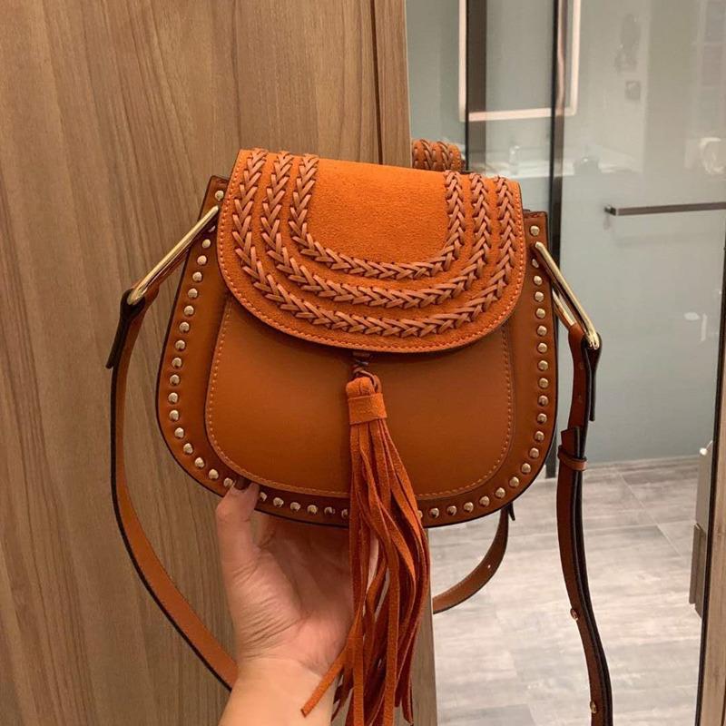 Женская мода Crossbody сумки на ремне кольцо пряжки год сбора винограда из натуральной кожи сумка Lady кисточки Design Saddle Bag