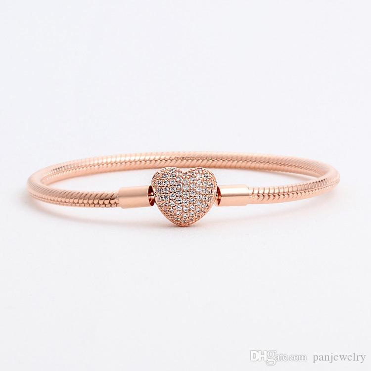 Coeur de mode en forme de bracelet en argent réel pour Pandora 925 en or rose en argent sterling CZ diamant Serpent sauvage Bracelet chaîne avec os d'origine