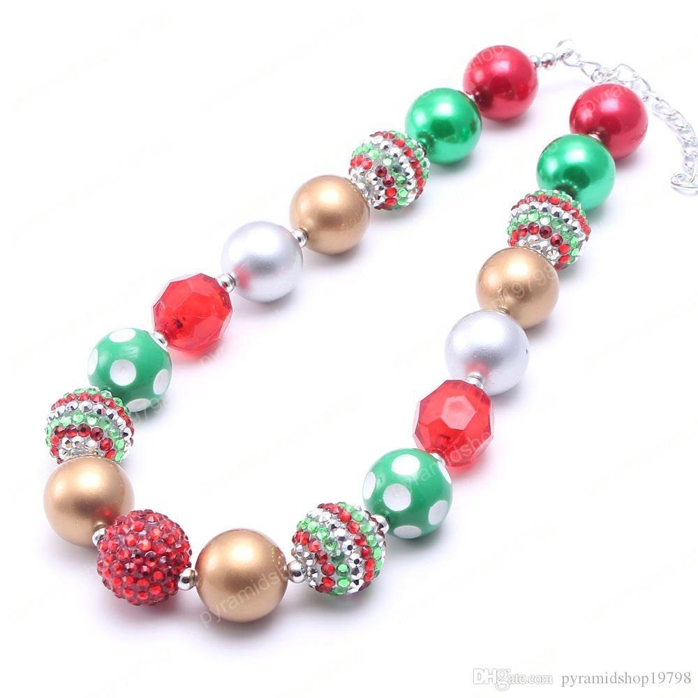 Irrésistible Noël pour les enfants Chunky Collier Belle couleur Mode Bubblegum Perle Chunky Collier enfants Bijoux pour les filles tout-petits