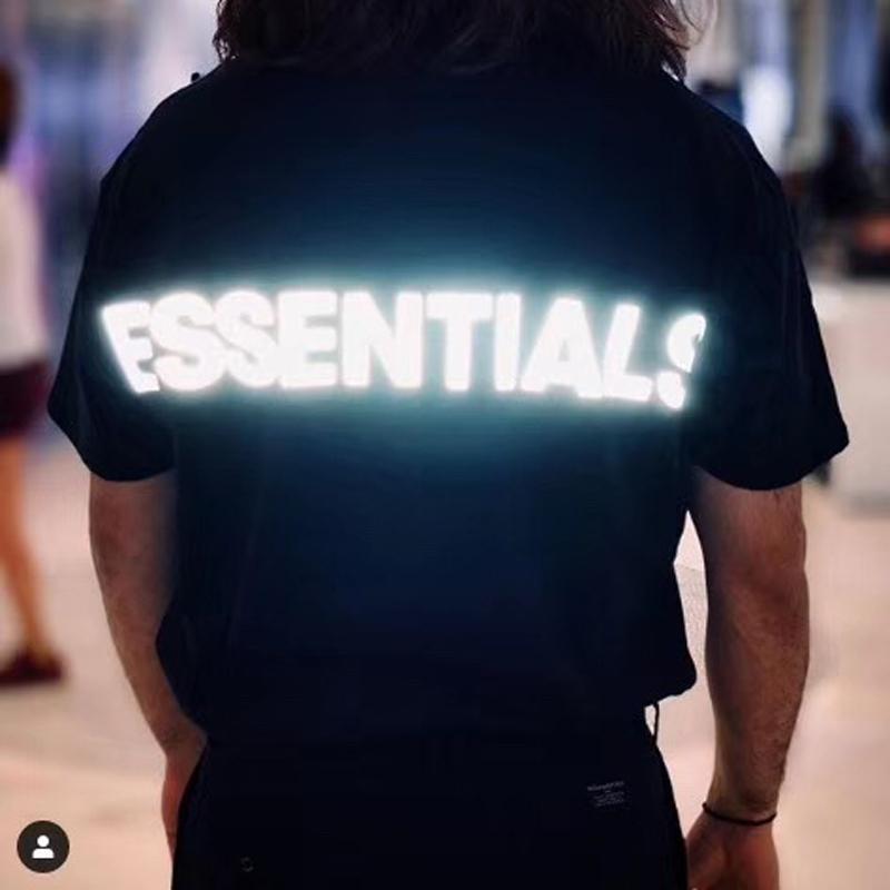 19SS Essentials paura di Oro 3 M riflettente Logo Tee Casual Manica Corta Uomo Donna Fashion Street Skateboard Estate T-Shirt Cool HFLSTX492