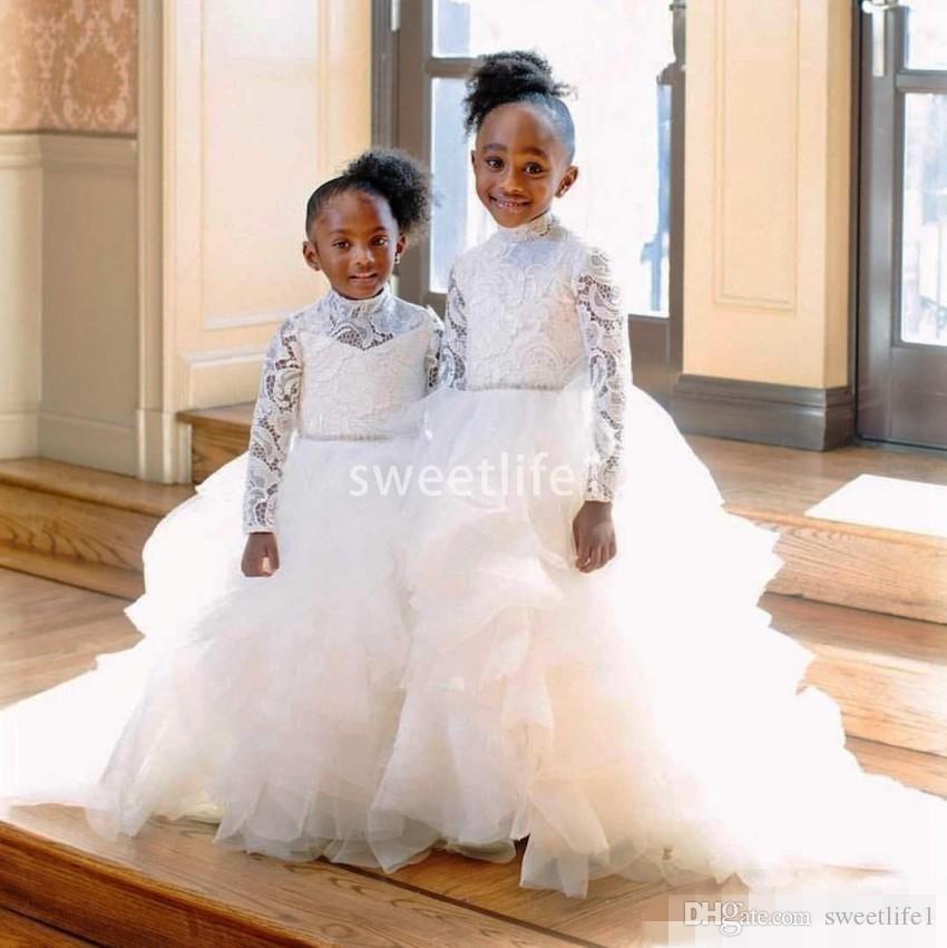 Princess White Long Sleeve Lace Flower Girl Dresses For Western Weddings High Neck Tier Ruffles Beaded Belt Long Kids Toddler Communion Gow