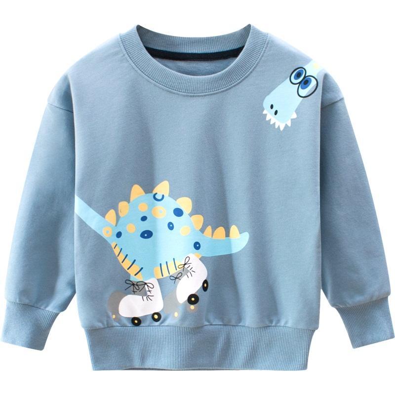Otoño sudaderas con capucha de la niña-Niños de niños de los niños del algodón del niño de vestir de las tapas ropa huella de dinosaurio muelle de dibujos animados