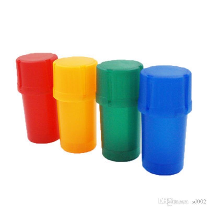 Acrilico secco smerigliatrice Garbage Can Modeling fumatori Grinders Plain Colori bottiglie a forma di fumo di immagazzinaggio di caso per il regalo di promozione 2yh E1
