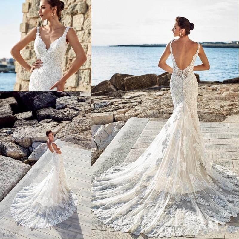 2020 New Luxury Mermaid Wedding Dresses Cheap Deep V Neck Full Lace Appliques Sleeveless Sexy Open Back Plus Size Court Train Bridal Gowns