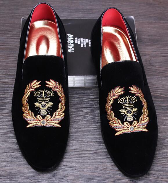 Мужская замша Мокасины Мужские Повседневной Вышивка Мокасины Обувь Люди Слип-On Party Driving Квартира