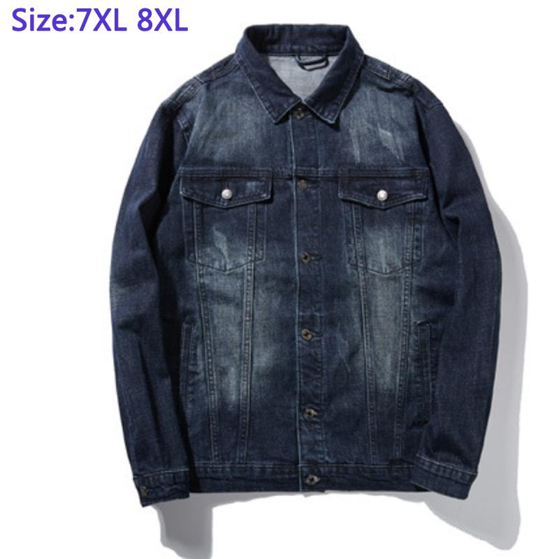 97% do algodão Jackek For Men Denim Grosso Casual super grande casaco de Mens Indivíduos gordos Jacket Denim Grande plus size 2XL -5XL6XL7XL8XL
