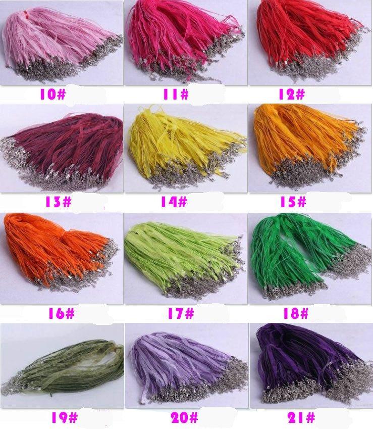 """Mode HOT 100pcs / lot 18Colors Organza ruban Colliers Pendentifs Chaînes 3 + 1 18"""" 44cm Bijoux bricolage MAKING"""