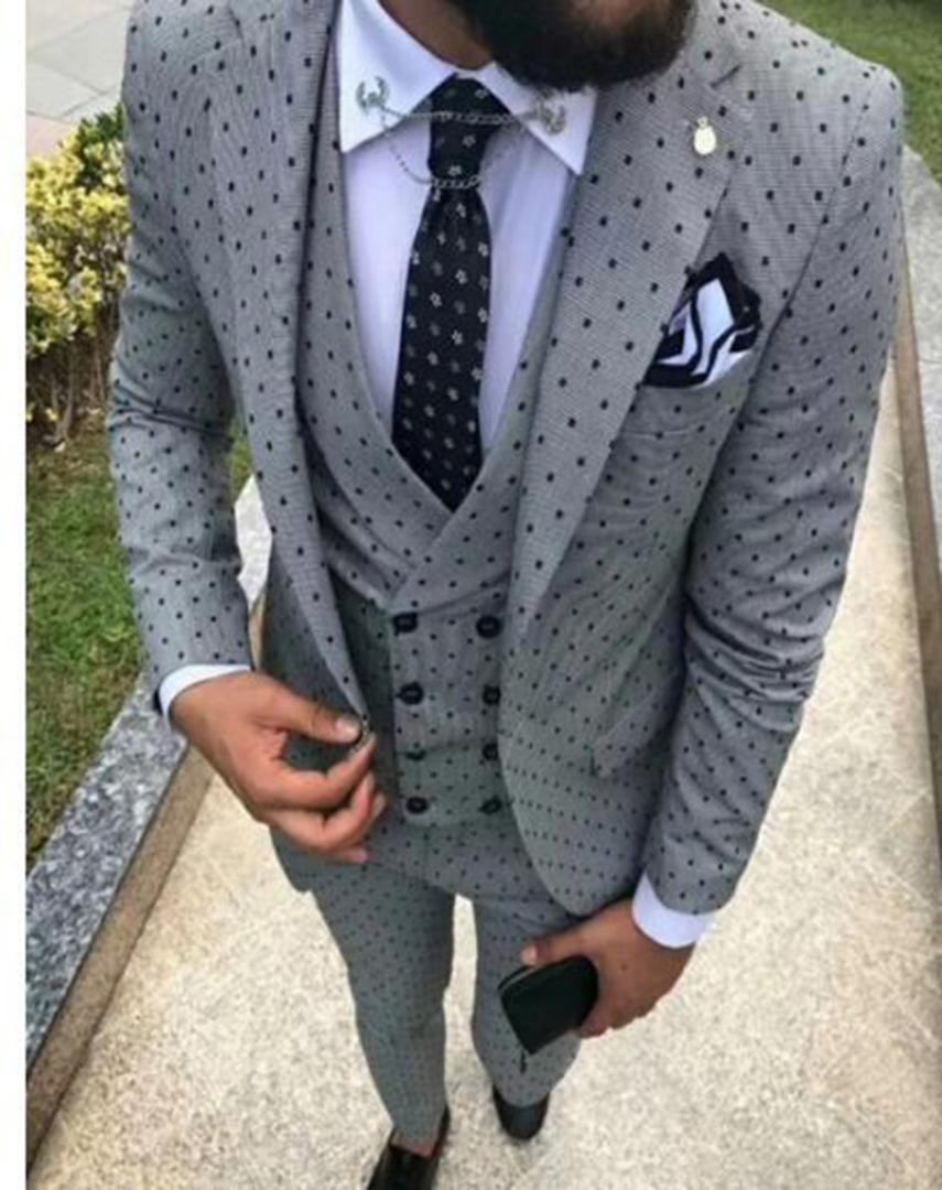 Mens suits Wave point Three Pieces Men Dress Suits Casual Commuter office business For Wedding(Blazer+Vest+Pants+Tie)
