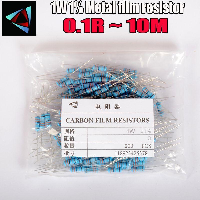 200 adet 1 W Metal film direnç% 1% 0.1R ~ 10 M 2R 10R 22R 47R 100R 330R 1 K 4.7 K 10 K 22 K 47 K 100 K 330 K 470 K 0,22 0,3 0,47 0,68 ohm