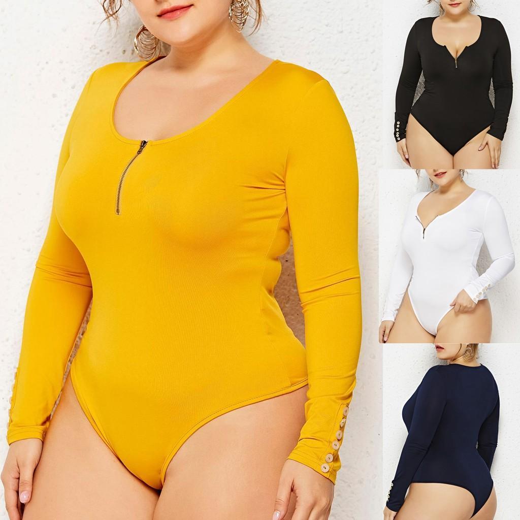 Uzun Kollu bodysuit Artı boyutu 5XL 6XL Moda Kadınlar Seksi Yuvarlak Yaka Fermuar Vücut tulum şeker renk Şekillendirici İnce