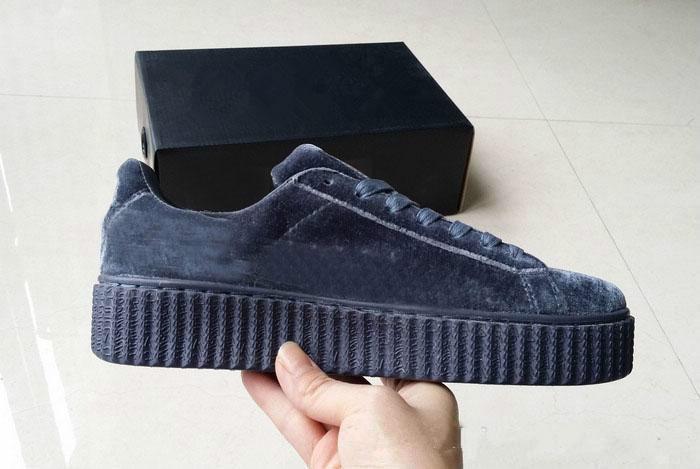der heißen Verkauf Frauen Rihanna Fenty Riri Plattform Creeper Velvet-Pack Burgund Schwarz Grau Farbe Marken-Damen klassische zufällige Shoes36-39 Top-Qualität