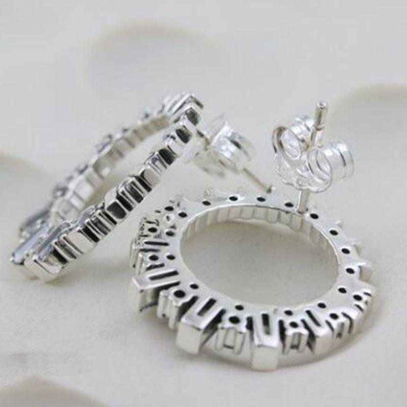 2018 100% di gioielli S925 Sterling Silver europeo di stile Pandora glaciale bellezza orecchini con i monili delle donne