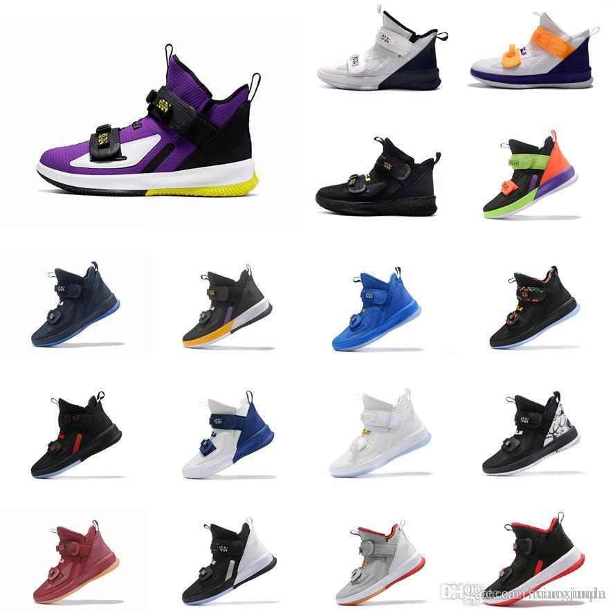 Дешевые мужские новые Леброн солдат 13 баскетбольной обуви для продажи черного золота Фиолетовый Yelow Laker MVP молодежи lebrons солдат кроссовки теннис с коробкой