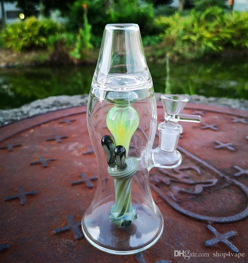 Yeni Lav Lambası Bong 8 İnç Heady Cam Su Boruları Türbin Perc Kalın Bongs Yeşil Yağ Dab Kuyuları 14mm Ortak ile Bowl