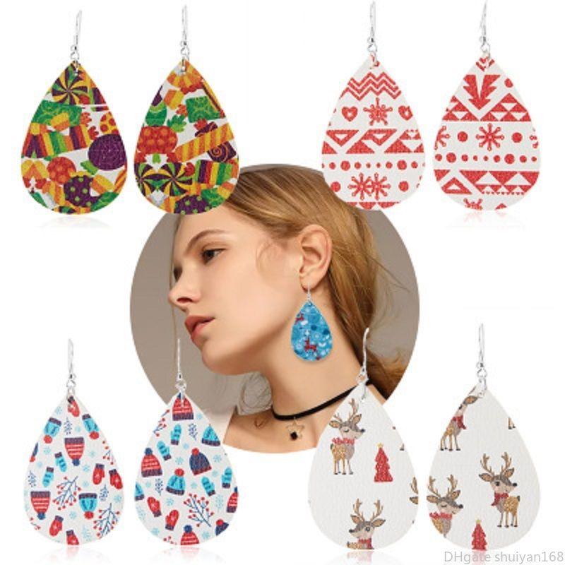 Lovely Christmas PU Leather Dangle Earrings Elk Snowflake Deer Teardrop Drop Earrings Party Ear Jewelry Accessories Gift